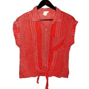 Harper Heritage Cotton Tie Front Crop